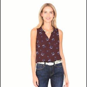 Cabi maroon sleeveless blouse